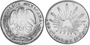 4 Real Second Federal Republic of Mexico (1846 - 1863) Silver