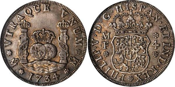 4 Real Spanish Mexico  / Kingdom of New Spain (1519 - 1821) Silver Philip V of Spain(1683-1746)