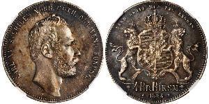 4 Riksdaler United Kingdoms of Sweden and Norway (1814-1905) Argent Charles XV de Suède (1826 - 1872)