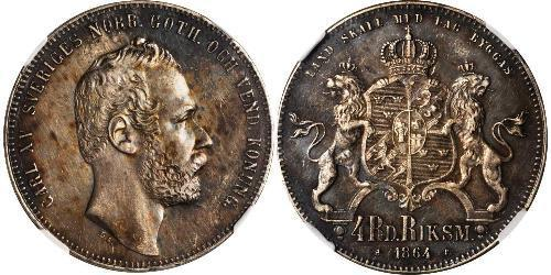 4 Riksdaler United Kingdoms of Sweden and Norway (1814-1905) Plata Carlos XV de Suecia (1826 - 1872)