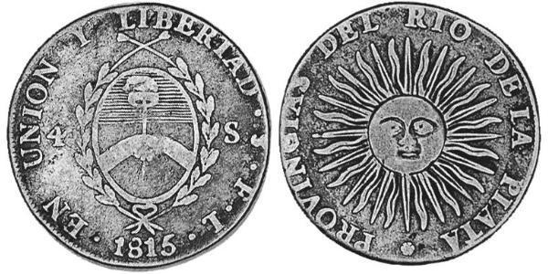 4 Sol 拉普拉塔联合省 (1810 - 1831) 銀