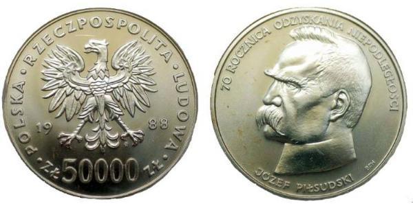50000 Zloty 波兰人民共和国 (1944 - 1989) 銀 约瑟夫·毕苏斯基