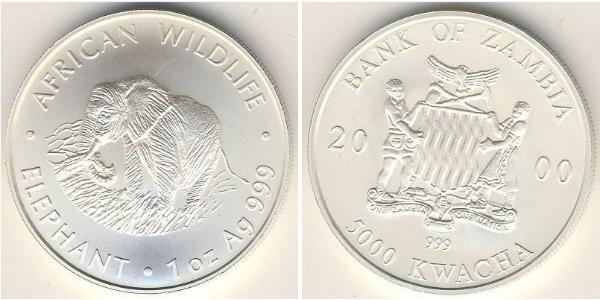 5000 Kwacha Zambia (1964 - ) Plata