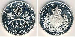 5000 Lira San Marino Silver