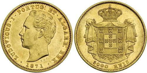 5000 Reis 葡萄牙王國 (1139 - 1910) 金 路易斯一世 (葡萄牙)