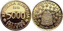 5000 Tolar Slowenien Gold