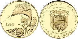 500 Бальбоа Республика Панама Золото