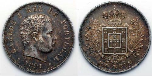 500 Рейс Королевство Португалия (1139-1910) Серебро Карлуш I король Португалии(1863-1908)