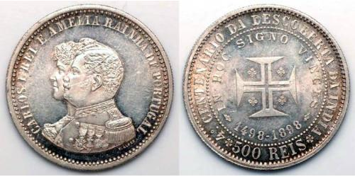 500 Рейс Королівство Португалія (1139-1910) Срібло Карлуш I король Португалії (1863-1908)