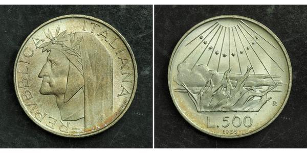 500 Lira Italie Argent Dante Alighieri