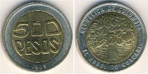 500 Peso Republica de Colombia (1886 - ) Bimetal
