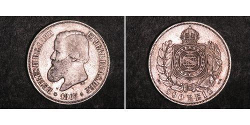 500 Reis Impero del Brasile (1822-1889) Argento Pietro II del Brasile (1825 - 1891)