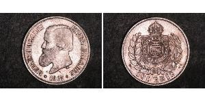 500 Reis Imperio del Brasil (1822-1889) Plata Pedro II de Brasil (1825 - 1891)