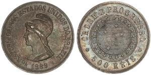 500 Reis Brasilien Silber