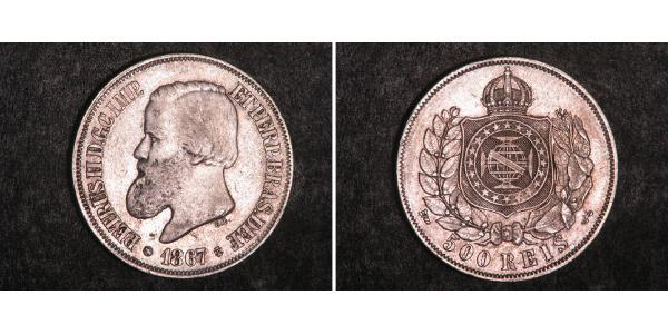500 Reis Empire of Brazil (1822-1889) Silver Pedro II of Brazil (1825 - 1891)