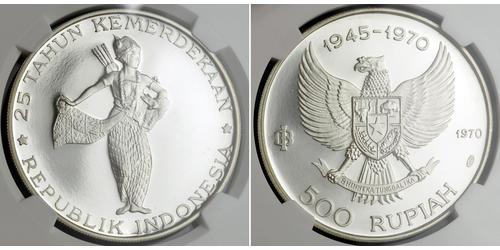 500 Rupia Indonesia Plata