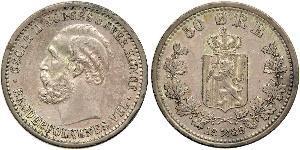 50 Ере United Kingdoms of Sweden and Norway (1814-1905) Срібло Оскар II (1829-1907)