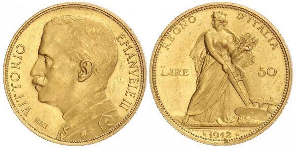 50 Ліра Kingdom of Italy (1861-1946) Золото Виктор Эммануил III (1869 - 1947)