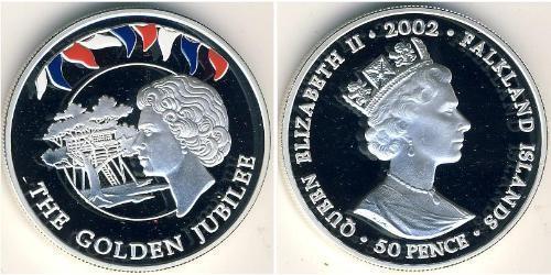 50 Пенни Фолклендские острова Серебро Елизавета II (1926-)