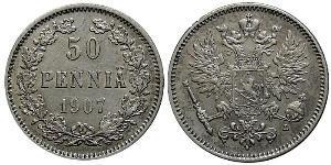 50 Пені Російська імперія (1720-1917) / Велике князівство Фінляндське (1809 - 1917) Срібло