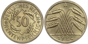 50 Пфенниг / 50 Рейхспфенниг Веймарская республика (1918-1933) Латунь