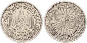 50 Пфенниг / 50 Рейхспфенниг Веймарская республика (1918-1933) Никель/Медь