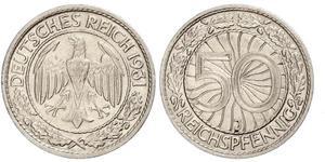 50 Рейхспфеніг / 50 Пфеніг Веймарська республіка (1918-1933) Нікель/Мідь