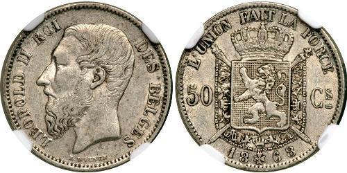 50 Сантім Бельгія Срібло Леопольд II (1835 - 1909)