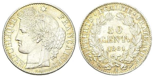50 Сантім Третя французька республіка (1870-1940)  Срібло