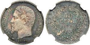 50 Сантім Second French Empire (1852-1870) Срібло Наполеон ІІІ Бонапарт (1808-1873)