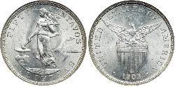50 Сентаво Филиппины Серебро