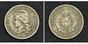 50 Сентаво Республіка Аргентина (1861 - ) Срібло