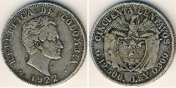 50 Сентаво Республіка Колумбія (1886 - ) Срібло