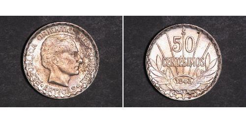 50 Сентесимо Уругвай Серебро