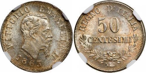 50 Сентесимо Kingdom of Italy (1861-1946) Серебро Victor Emmanuel II of Italy (1820 - 1878)