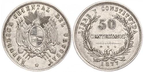 50 Сентесімо Уругвай Срібло