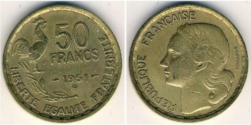 50 Франк French Fourth Republic  (1946-1958) Бронза/Алюміній