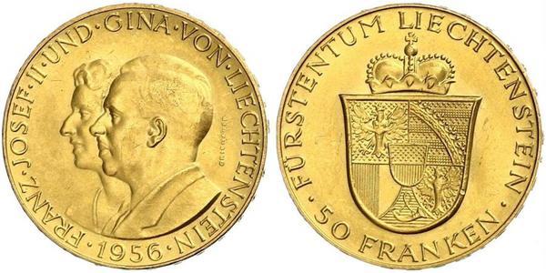 50 Франк Лихтенштейн Золото Franz Joseph II, Prince of Liechtenstein (1938 - 1989)