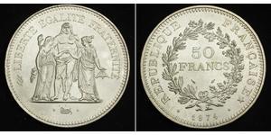 50 Франк French Fifth Republic (1958 - ) Срібло