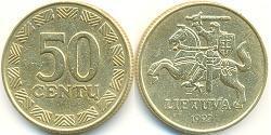 50 Цент Литва (1991 - ) Латунь