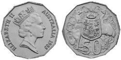 50 Цент Австралия (1939 - ) Никель/Медь Елизавета II (1926-)
