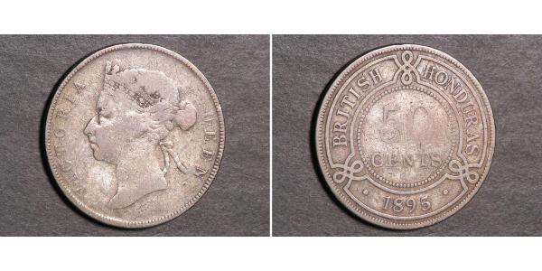 50 Цент Британский Гондурас (1862-1981) Серебро Виктория (1819 - 1901)