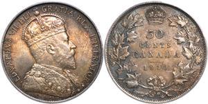 50 Цент Канада Серебро Эдуард VII (1841-1910)