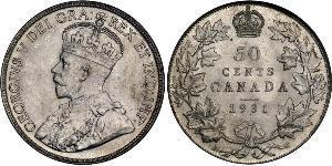 50 Цент Канада Серебро Георг V (1865-1936)