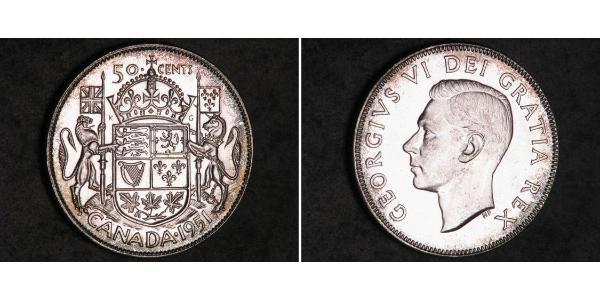 50 Цент Канада Серебро Георг VI (1895-1952)