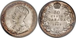 50 Цент Канада Срібло Георг V (1865-1936)
