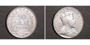 50 Цент Ньюфаундленд і Лабрадор Срібло Едвард VII (1841-1910)