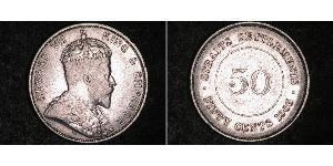 50 Цент Стрейтс-Сетлментс (1826 - 1946) Срібло Едвард VII (1841-1910)