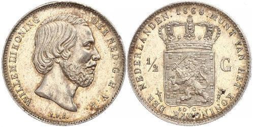 50 Цент / 1/2 Гульден Королівство Нідерланди (1815 - ) Срібло Віллем III