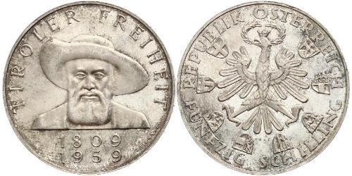 50 Шилінг Австрійська Республіка (1955 - ) Срібло